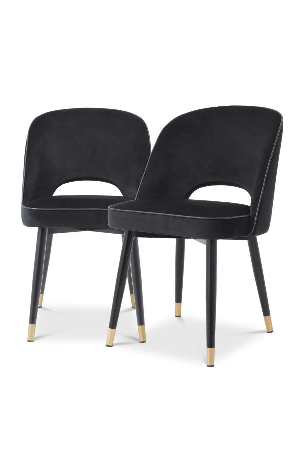 Black Velvet Dining Chair Set Of 2 | Eichholtz Cliff