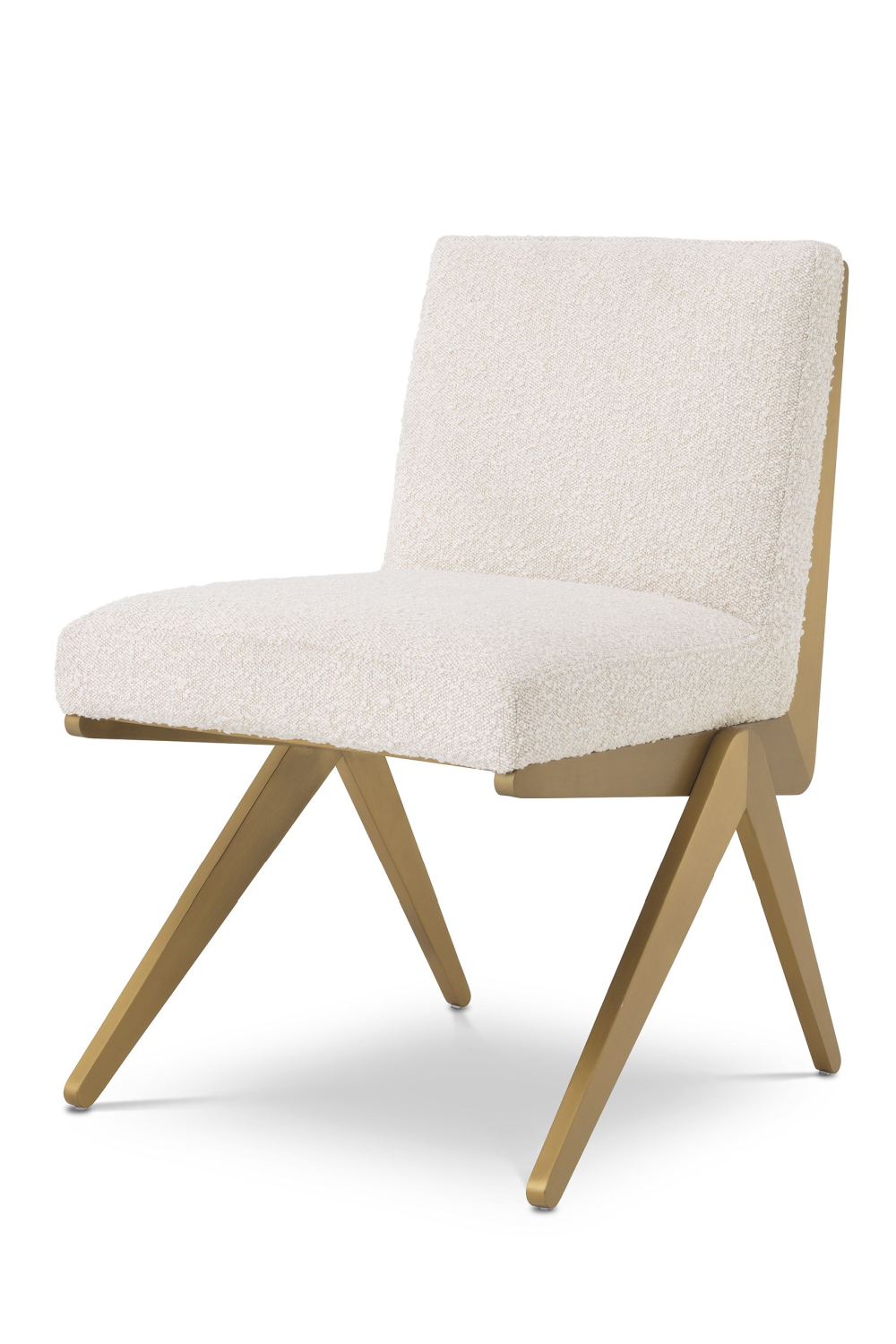 Boucle Cream Brass Dining Chair | Eichholtz Fico | #1 Eichholtz Online Retailer