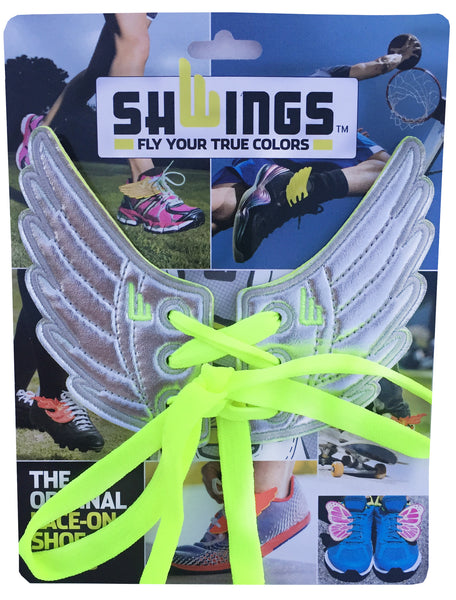 Silver Foil Wings with neon yellow laces