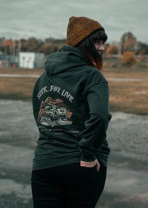 'Seek Find Live' Vintage Washed Hood