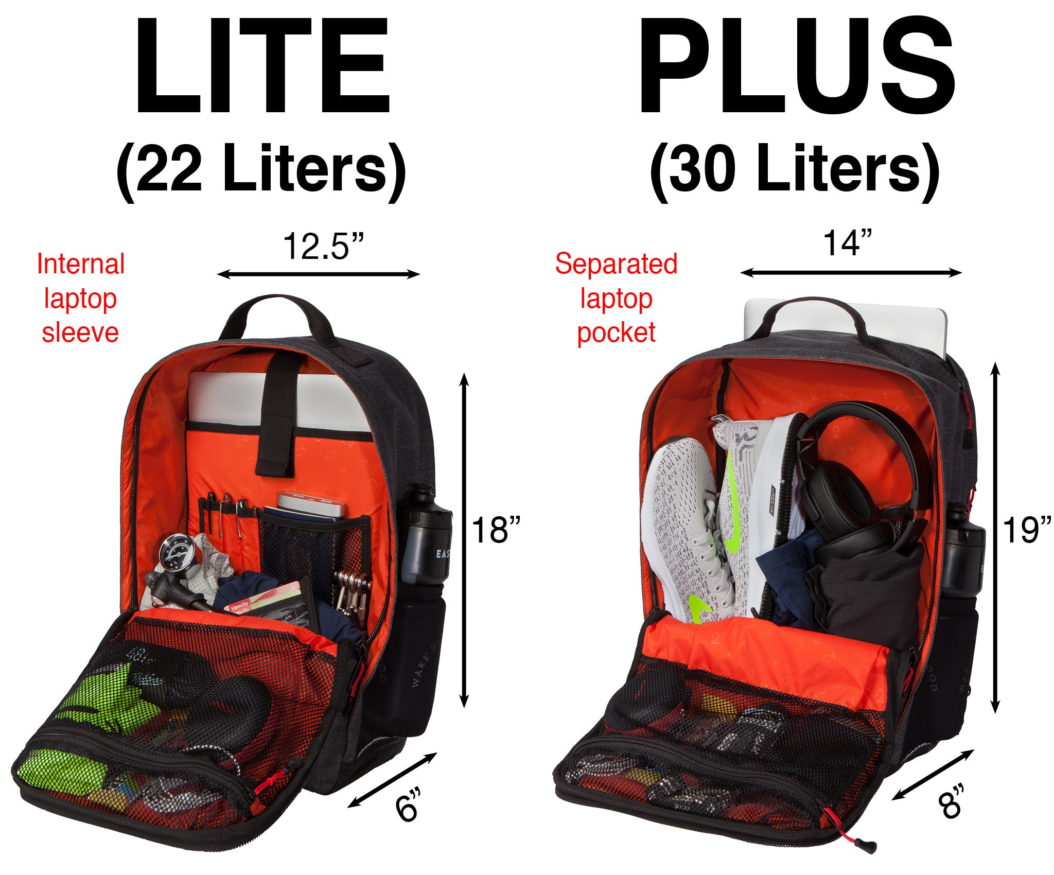 Two Wheel Gear - Pannier Backpack LITE vs. PLUS - Dimensions