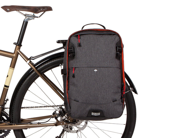 Two Wheel Gear - Pannier Backpack LITE - Graphite - On Bike