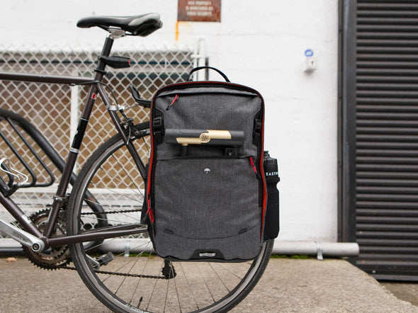 Two Wheel Gear - Pannier Backpack PLUS - Graphite Grey - Mounted on Bike Rack (4430361919548)