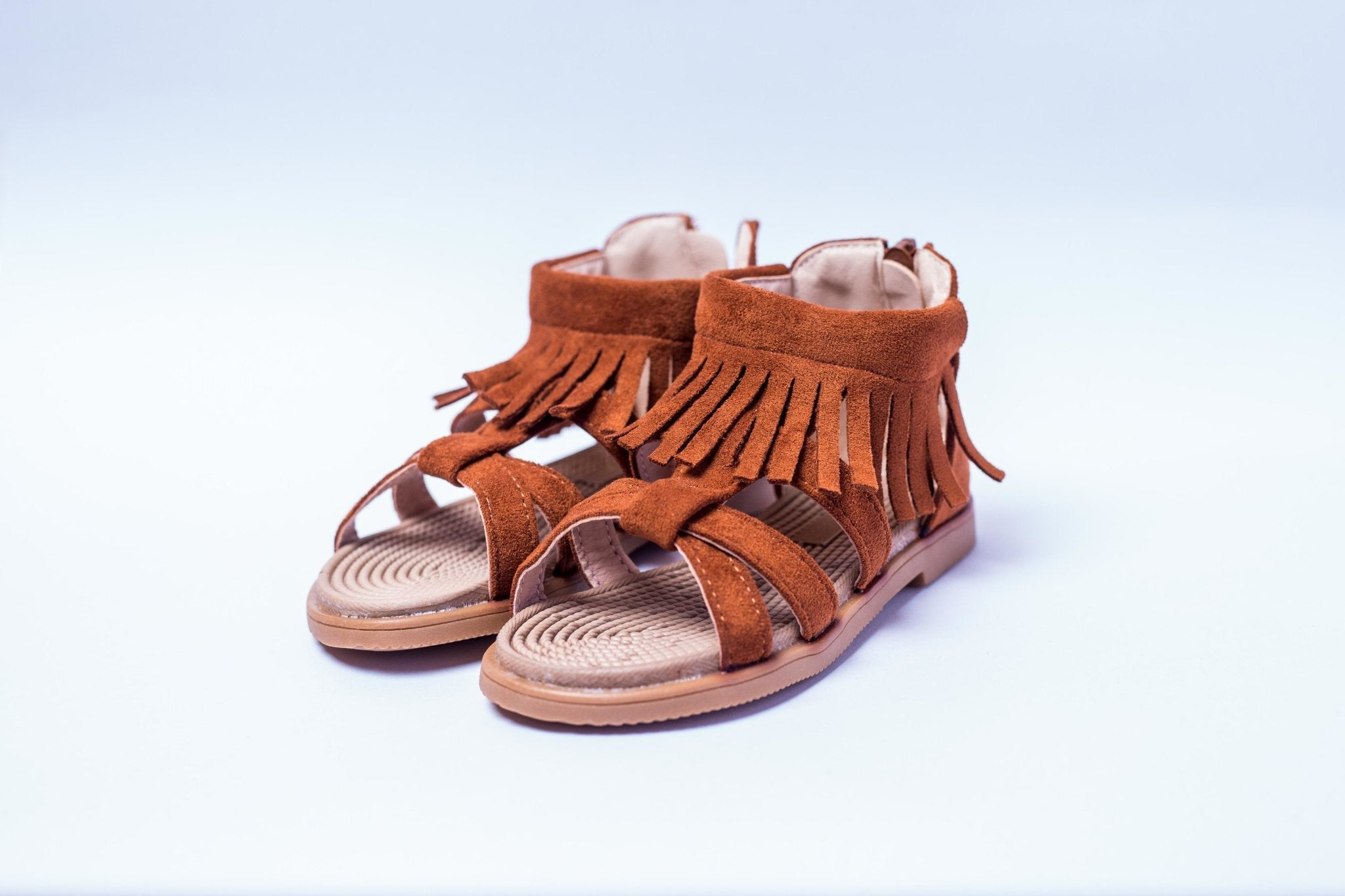 Baby Trail brown suede open shoes with Frills - Offspring