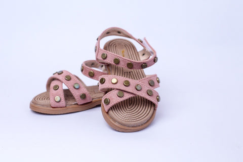 Baby Trail pink open shoes With Gold Stud detail on straps - Offspring