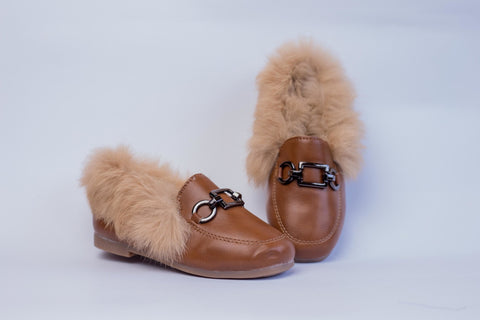 Brown loafers with Faux Fur - Offspring