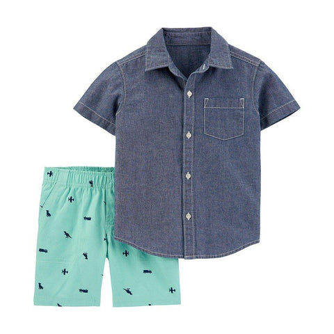 Carter's 2-Piece Chambray Button-Front Shirt & Canvas Short Set - Offspring