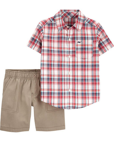 Carter's 2-Piece Plaid Button-Front & Canvas Short Set - Offspring