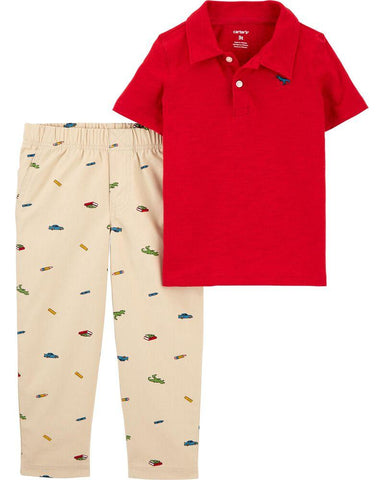 Carter's 2-Piece Slub Jersey Polo & Schiffli Pant Set - Offspring