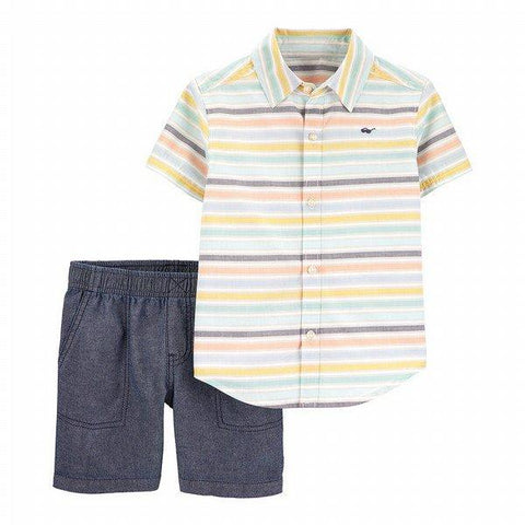 Carter's 2-Piece Striped Button-Front & Chambray Short Set - Offspring