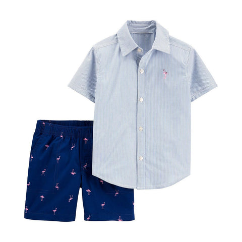 Carter's 2-Piece Striped Button-Front Shirt & Flamingo Short Set - Offspring
