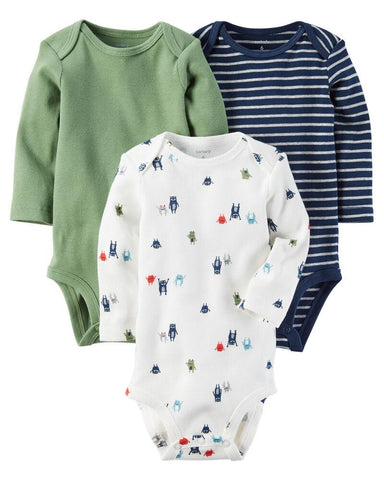 Carter's 3-Pack Long-Sleeve Bodysuits - Offspring