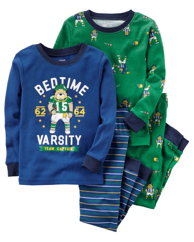 Carter's 4-Piece Football Snug Fit Cotton PJs - Offspring