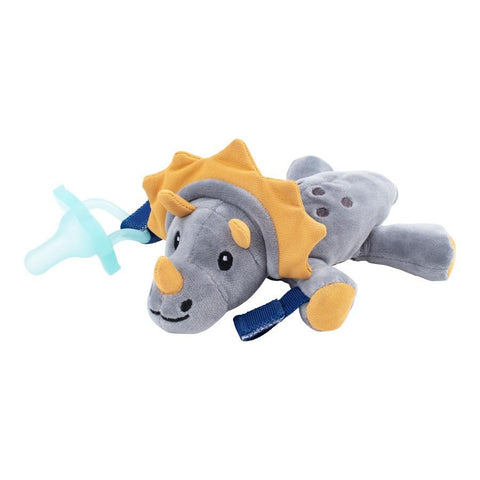 Dr. Brown's® Lovey Pacifier and Teether Holder, 0m+, Triceratops With Teal Pacifier - Offspring