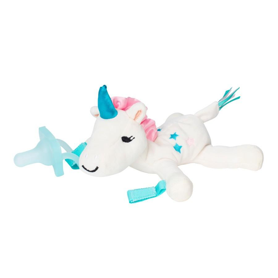 Dr. Brown's® Lovey Pacifier and Teether Holder, 0m+, Unicorn with Teal Pacifier - Offspring