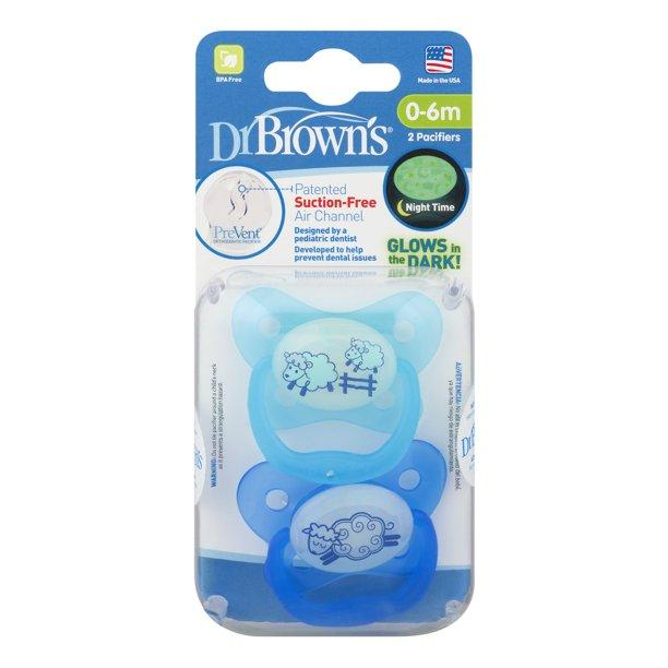 Dr. Brown's™ PreVent™ Contour Pacifier, Glow in the Dark, 2 Count - Offspring