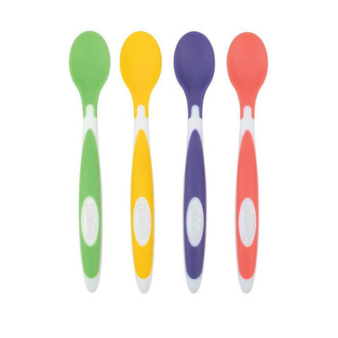Dr. Brown's Soft - Tip Spoon, 4 Pack (Coral, Turquoise, Gray, Blue) - Offspring
