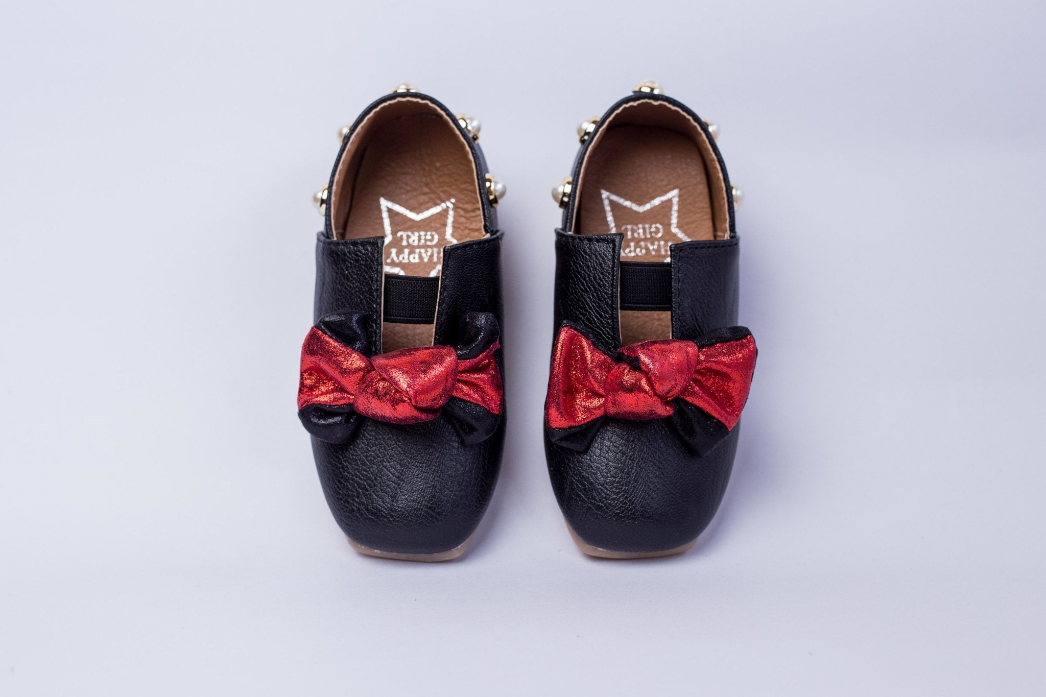 HAPPY GIRL Leather shoes with pearl studs and bow - Offspring