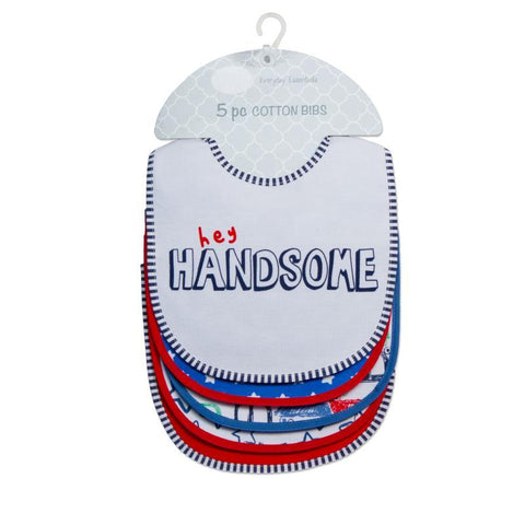 "Mother's Choice ""Hey Handsome"" 5 Pack Cotton Bibs - Offspring"