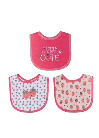 "Mother's Choice ""I am so Berry Cute"" 3-Pack Cotton Bibs - Offspring"
