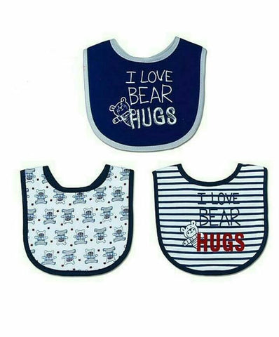 "Mother's Choice ""I love bear hugs"" 3-Pack Cotton Bibs - Offspring"