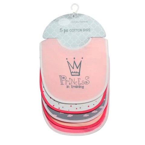 "Mother's Choice ""Princess in Training"" 5-Pack Cotton Bibs - Offspring"