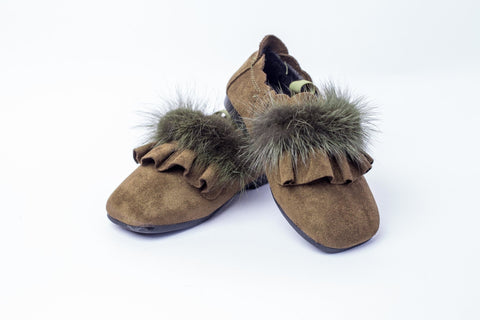 Suede loafers with Faux Fur strap - Offspring