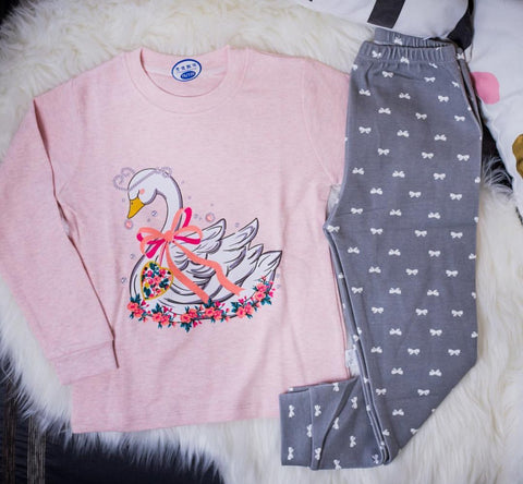 Swan and Bow Pajama Set - Offspring