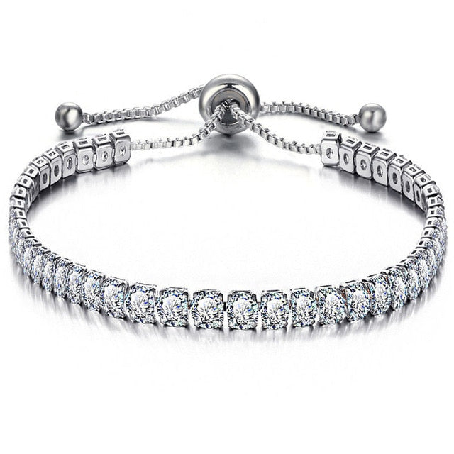 Cubic Zirconia Tennis Bracelet & Bangle Women's Adjustable Link - Ebony's Beauty Hair and Skin Care LLC