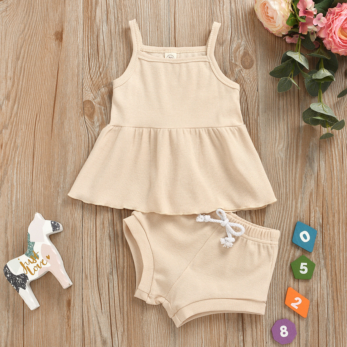 Baby Summer Clothing Newborn Baby Girls Casual Sleeveless Solid organic cotton Tops + Shorts 2pcs Clothes Set 1-3Years