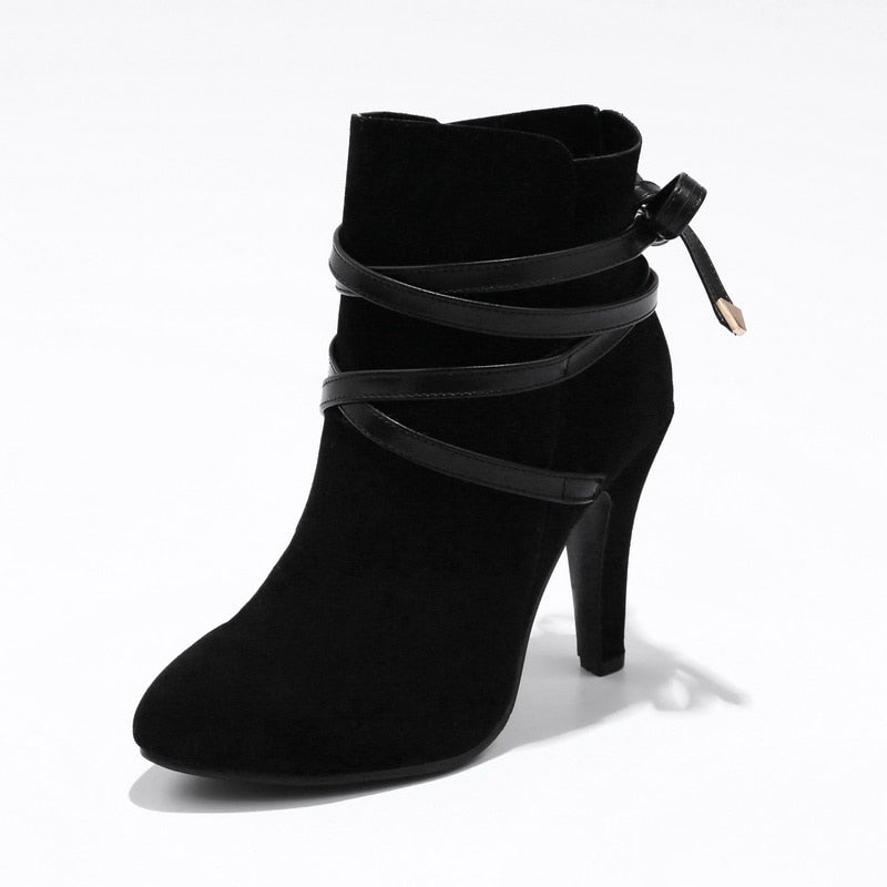 flock lace up ankle boots