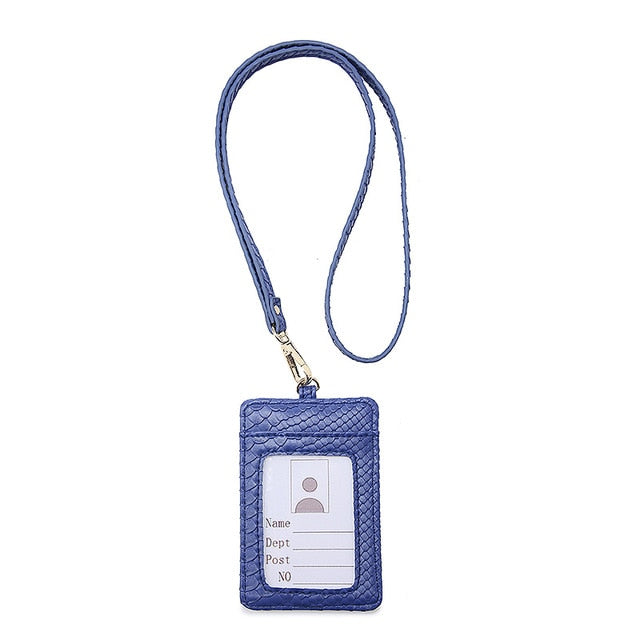 Ladies Bus Card Set ID Men Work Card Holder Embrossed Python Pattern Wallet Key Bag Fashion Documents Package Clip With Lanyard