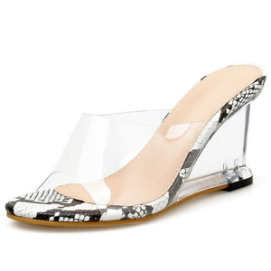 Transparent Leopard Platform Wedge Sandals Slippers