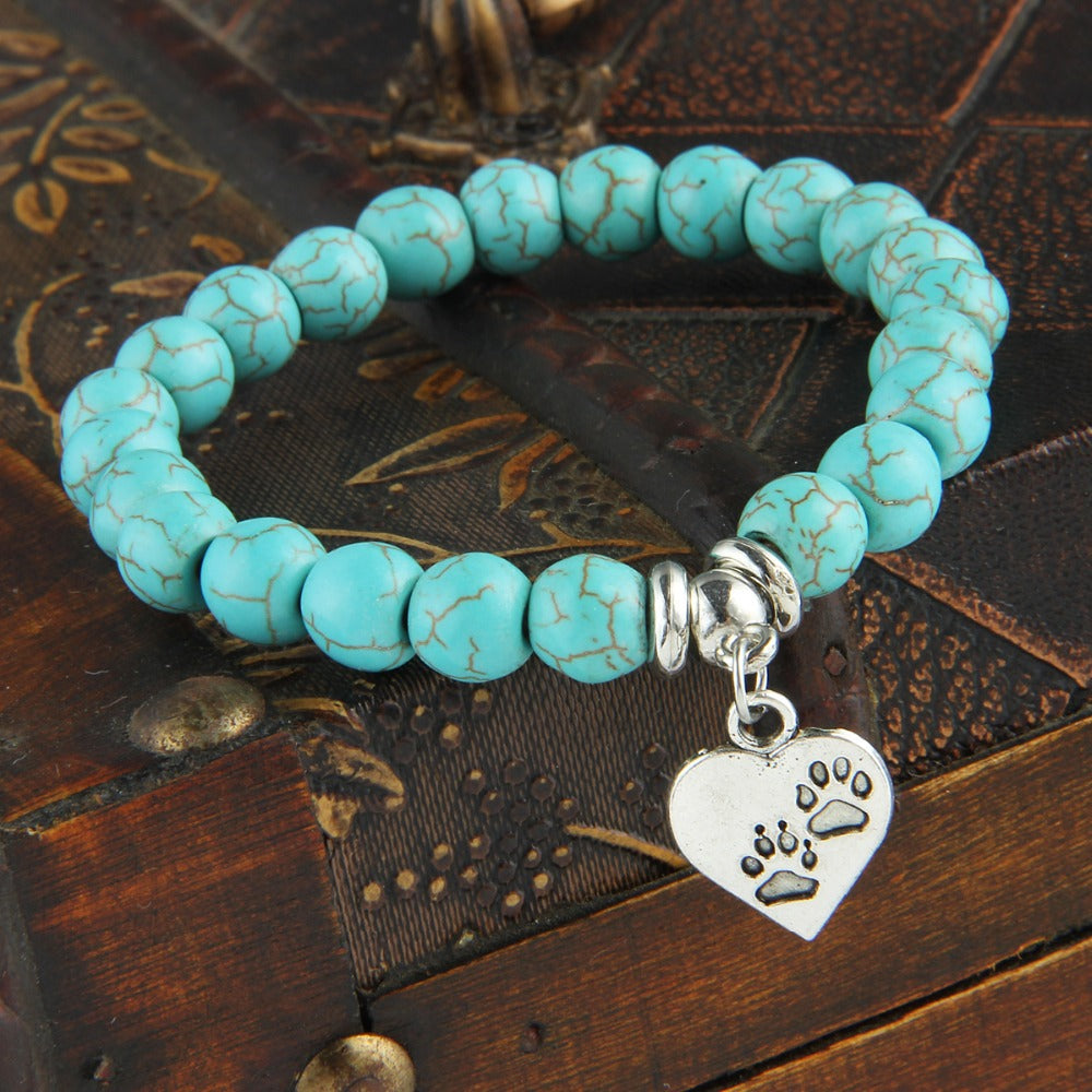 Vintage Heart Dog Cat Animal Feet Footprint Blue Bead Pendant Bracelet Women Girl Statement Jewelry - Ebony's Beauty Hair and Skin Care LLC