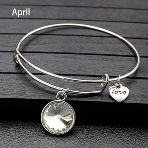 Birthstone Bangle Bracelets With Adjustable Expandable Crystal Charms - Ebony's Beauty Hair and Skin Care LLC
