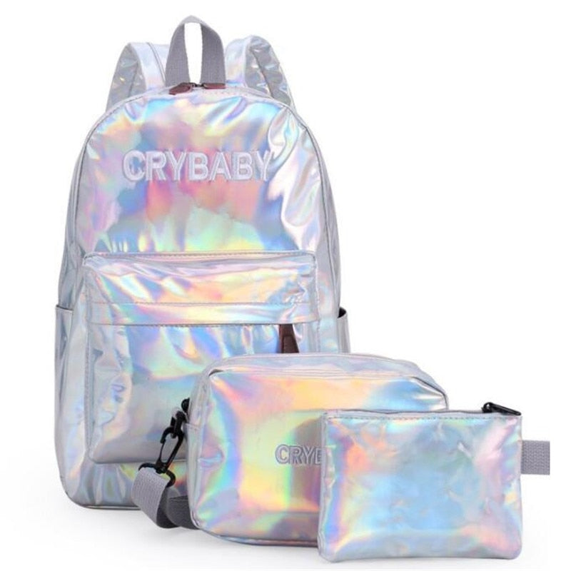 Holographic Laser Backpack Embroidered  3pcs/set - Ebony's Beauty Hair and Skin Care LLC