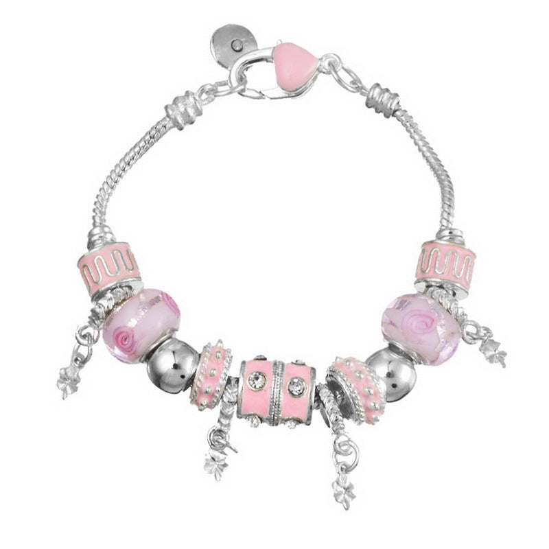 Pink Crystal Charm Silver Bracelets Bangles for Women With Murano Beads Silver Bracelet Jewelry - Ebony's Beauty Hair and Skin Care LLC