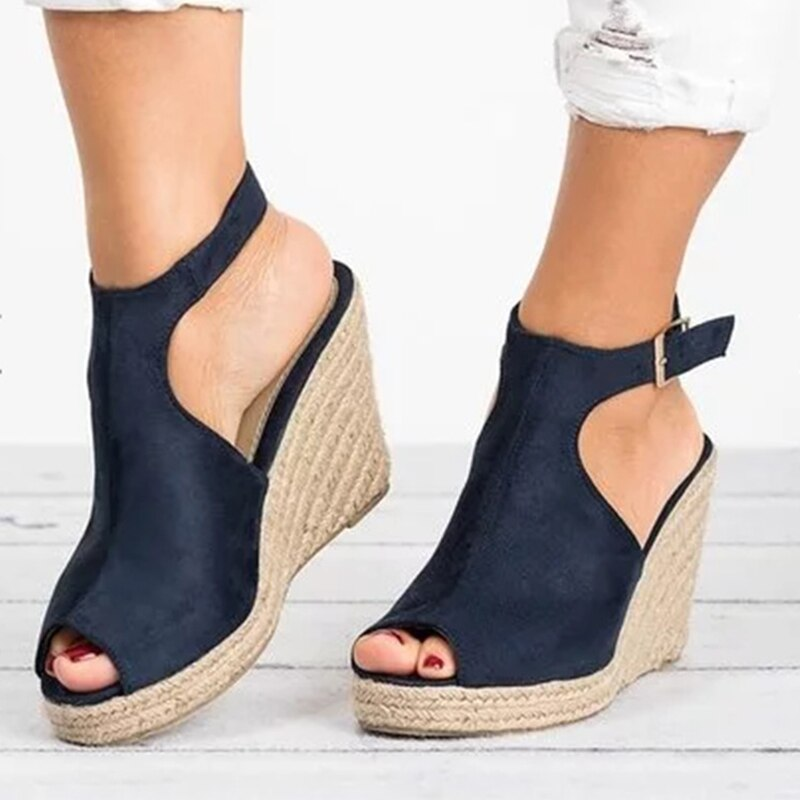 Women Sandals Suede Open Toe Cork Wedge