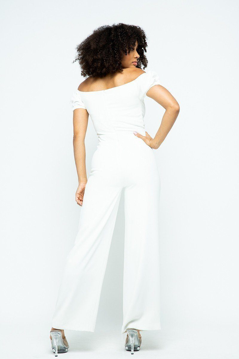 Puff Short Sleeve Jumpsuit With U Metal Details And Back Open Zippered - Ebony's Beauty Hair and Skin Care LLC
