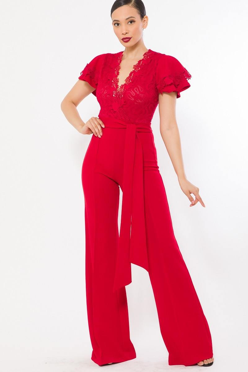 Deep V Crochet Lace Jumpsuit