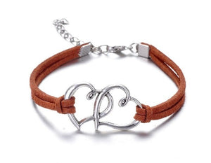 Infinity handmade bracelet Vintage Antique Silver Love double heart Charms Infinity Bangles Leather Bracelet - Ebony's Beauty Hair and Skin Care LLC