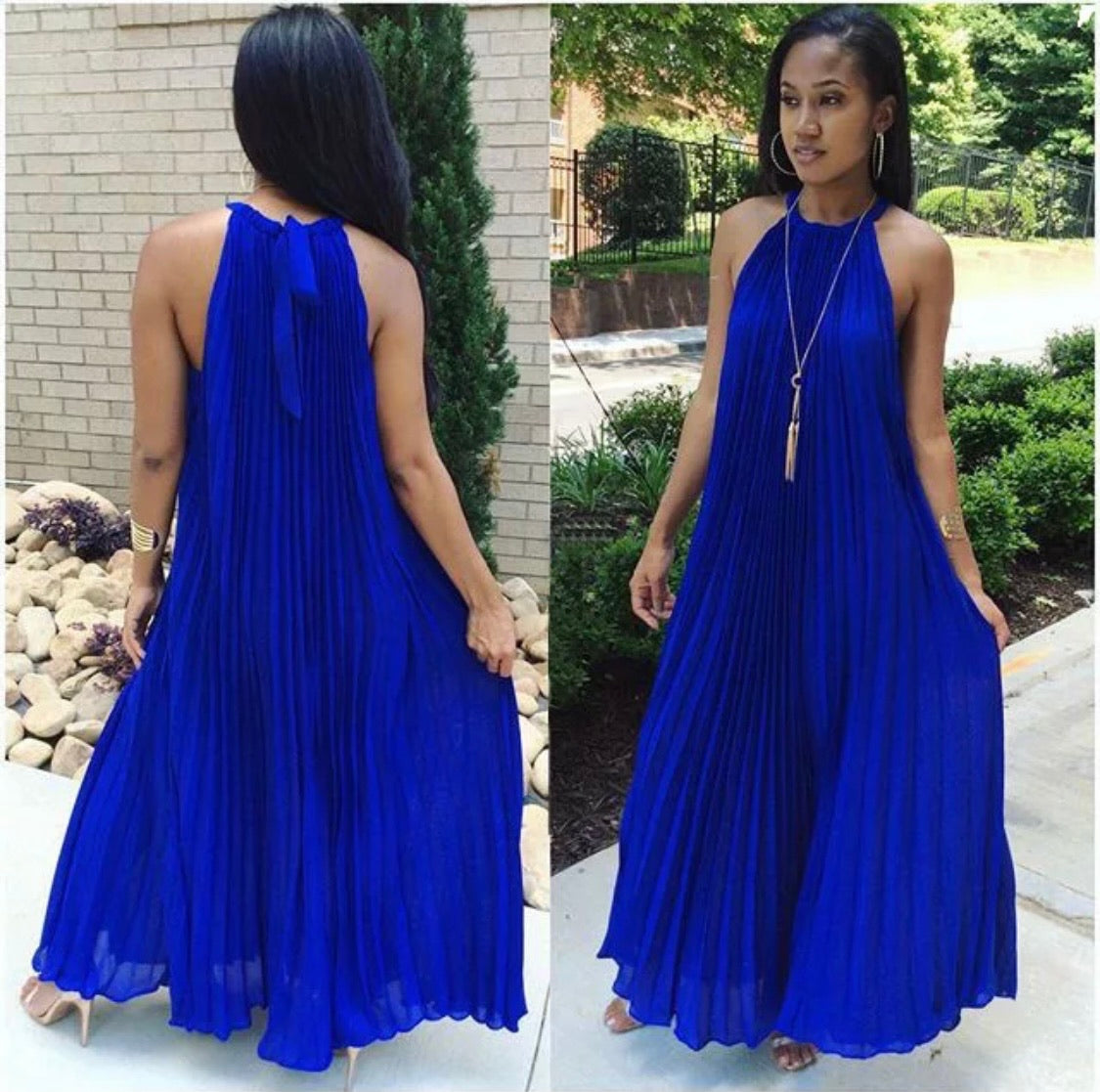 Chiffon Pleated Halter Dress