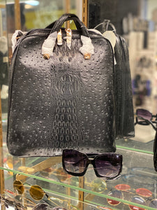 3 pc Ostrich Purse/ Backpack  Set with Sunglasses