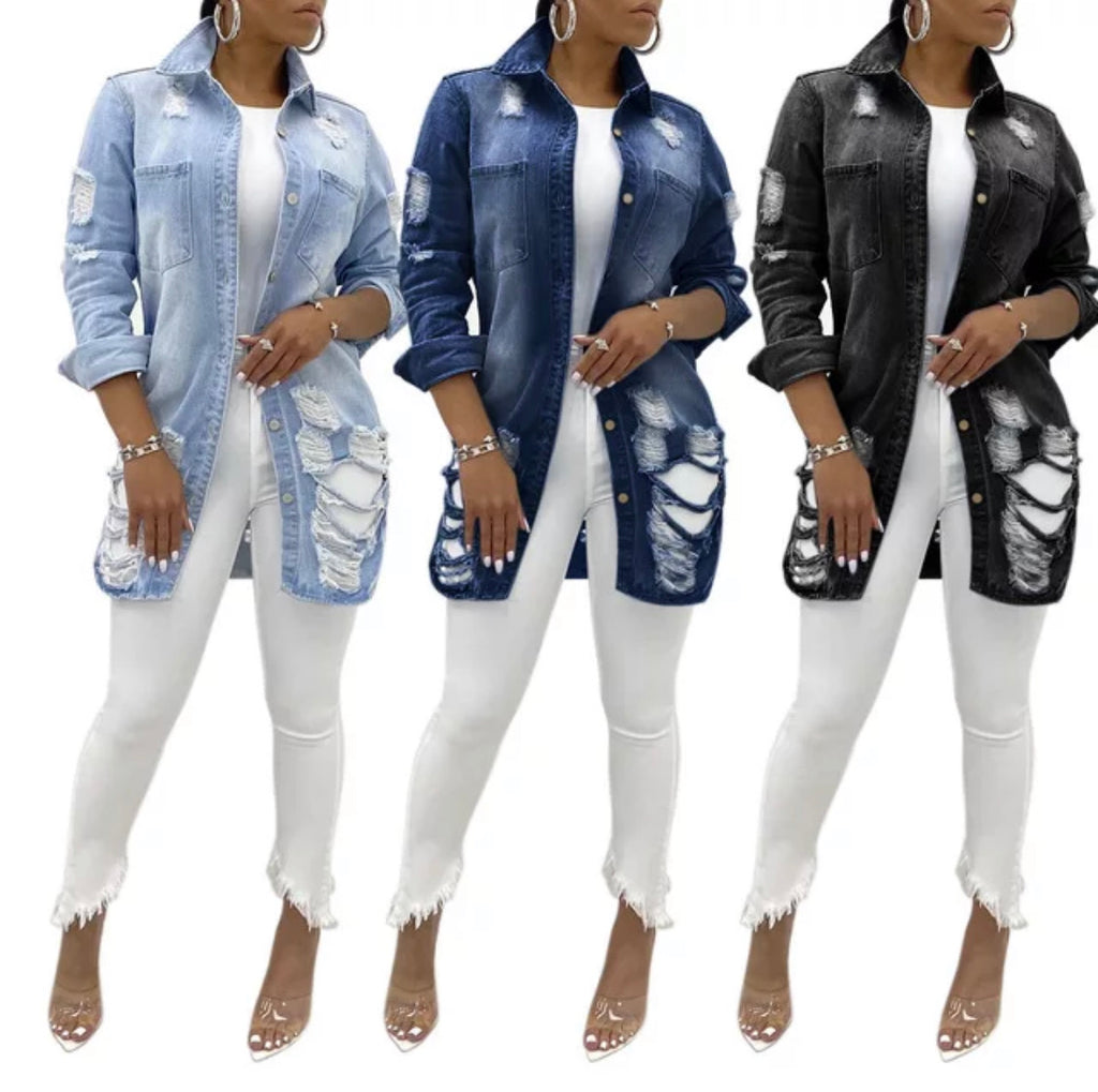 Ladies Fashion Jean Shirt - Ebony's Beauty Hair and Skin Care LLC
