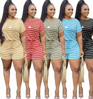 Striped Short Set - Ebony's Beauty Hair and Skin Care LLC