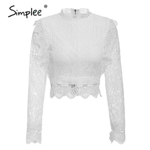 Sexy White Lace Woman Blouse - Ebony's Beauty Hair and Skin Care LLC