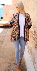 Snake Print Cardigan With Solid Trim - Ebony's Beauty Hair and Skin Care LLC