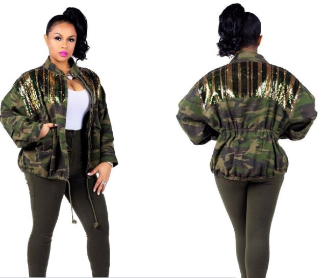 Camouflage Sequin Jacket