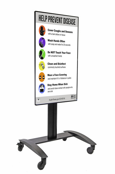 HootBooth LumaVu Digital Signage On Stand in Vertical/Portrait Orientation