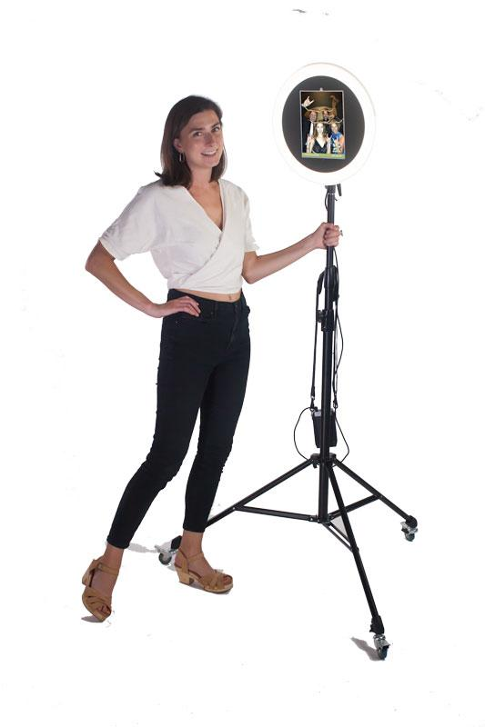 HootBooth ILLUMIN8 ROVR GIF Booth on stand with wheels